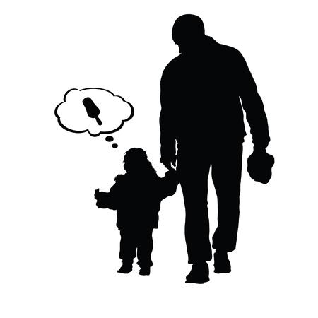 child ice cream: child eat ice cream with father illustration silhouette