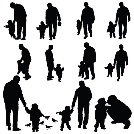 father and child: child with father illustration silhouette