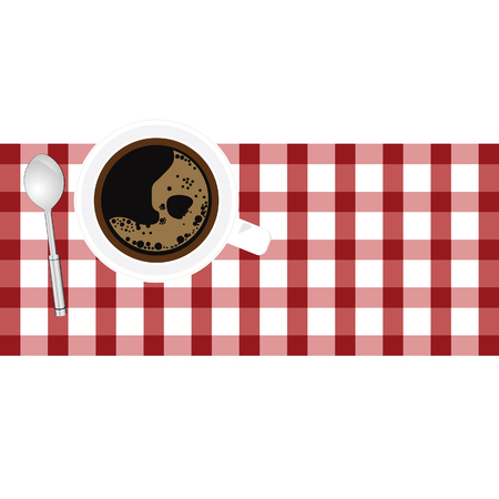 aroma: cup of coffe aroma on tablecloth illustration in colorful