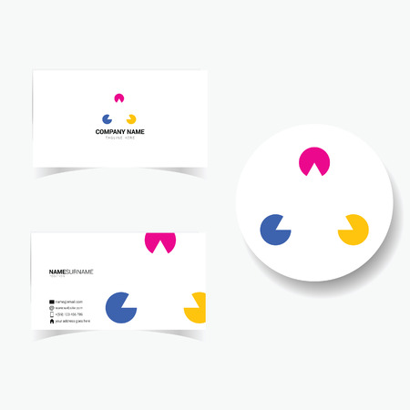 tagline: business card with triangle and three color