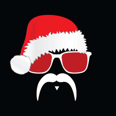 old man portrait: face with mustache illustration with red christmas hat