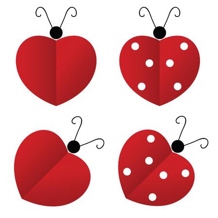 mosca caricatura: mariquita ilustraci�n coraz�n rojo
