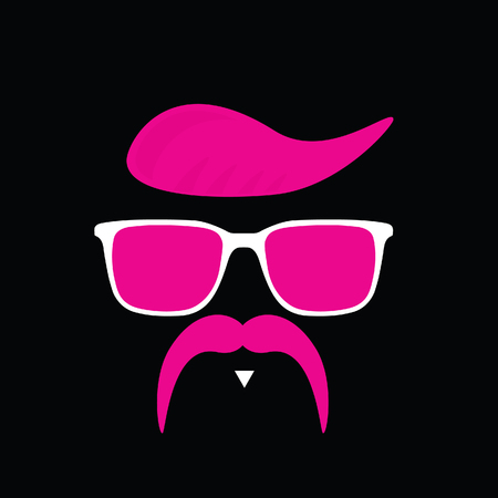 face with mustache illustration in pink color