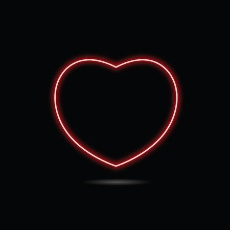 heart sign: heart red neon illustration on black