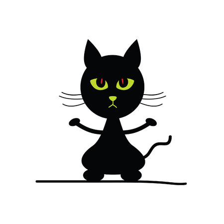 green eyes: cat adorable silhouette illustration with green eyes