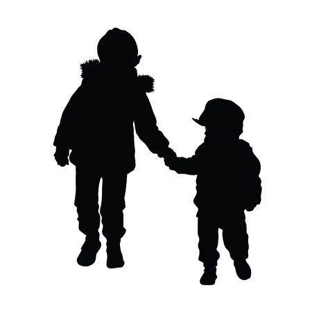 profile silhouette: child silhouette illustration on white background