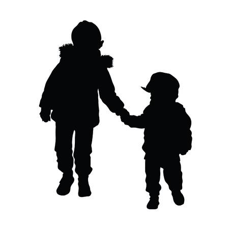 enfant qui joue: silhouette d'enfant illustration sur fond blanc Illustration