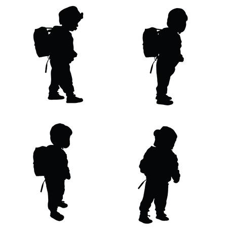 silhouettes of children: child set black illustration silhouette on white