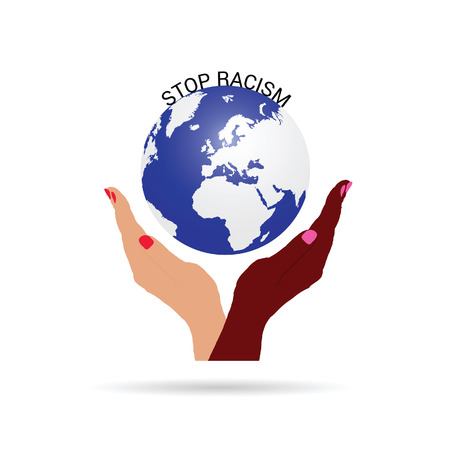 discriminate: stop racism with planet earth illustration in colorful Illustration