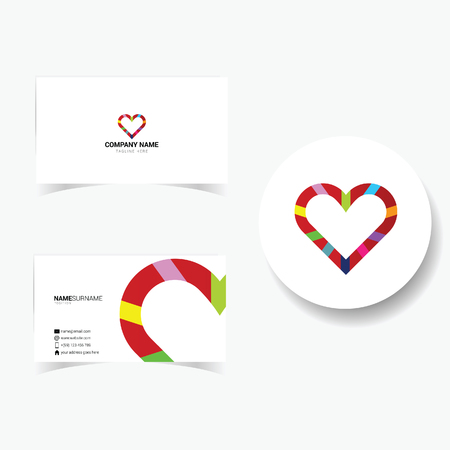 tagline: business card with heart illustration in colorful Illustration