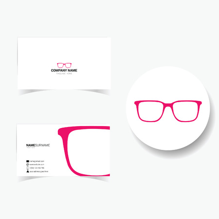 tagline: business card with sunglasses illustration in pink Illustration