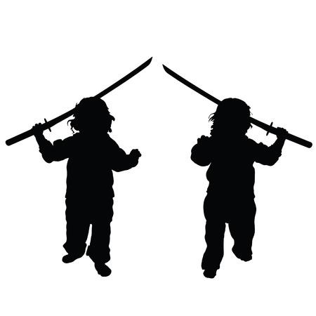 samurai sword: child with samurai sword set illustration in black