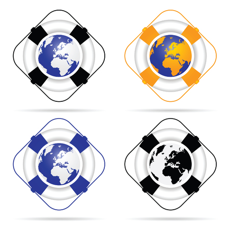 saver: live saver with planet earth illustration in colorful Illustration
