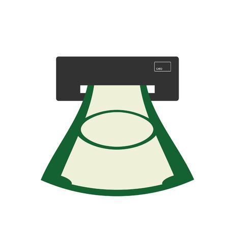 cash money: atm illustration with cash money