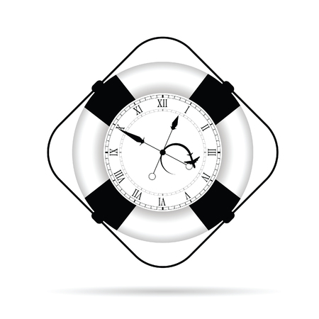 saver: clock in live saver illustration on white Illustration
