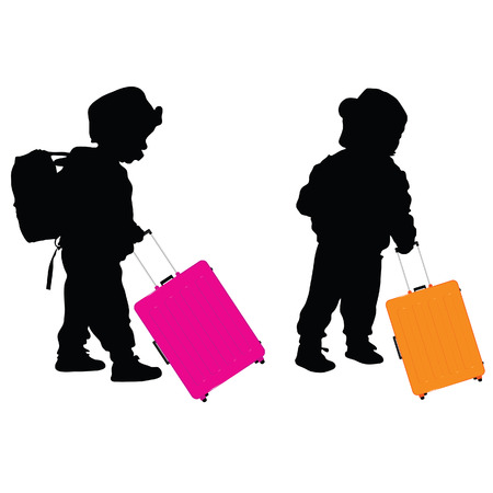 gab: child with travel baggage illustration silhouette