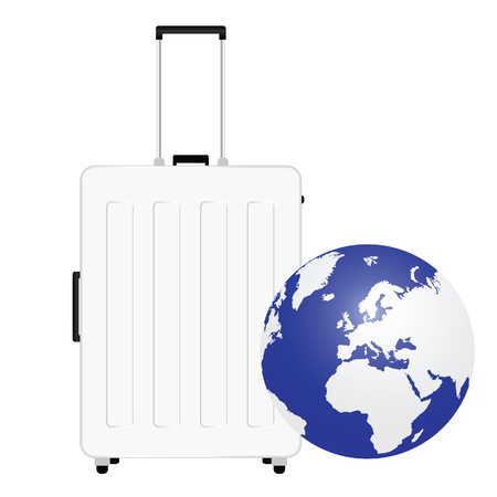 map case: travel baggage with planet earth illustration in colorful
