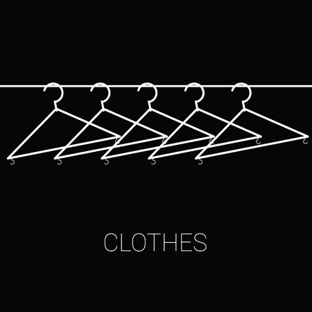 clothes hangers: clothes hangers illustration on black background