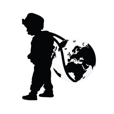 wears: child wears planet earth black illustration silhouette
