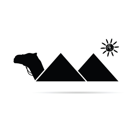 pyramid of the sun: pyramid with camel egypt illustration in black color Illustration