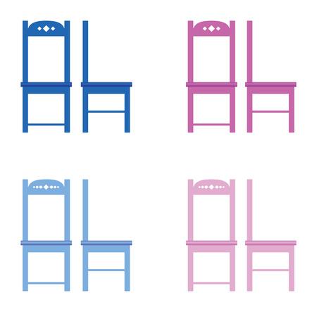large group of objects: chair set color furniture illustration Illustration