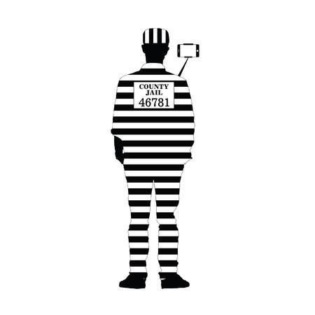 prisoner with selfie illustration silhouette