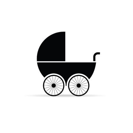 stroller: baby stroller illustration in black color Illustration