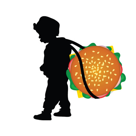 cute baby girls: child holding hamburger food illustration