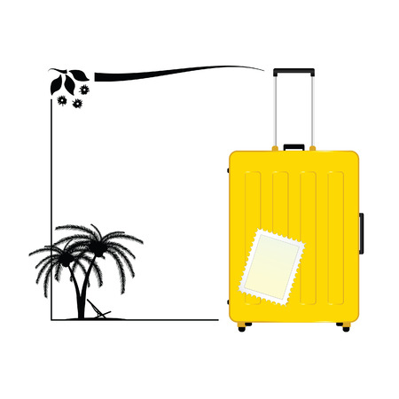 voyager: travel bag yellow icon paradise illustration