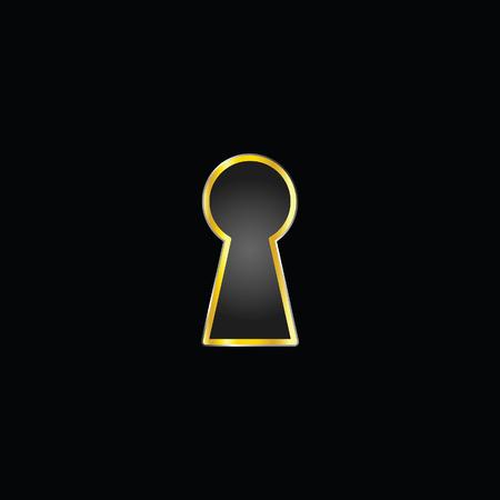 gold keyhole: keyhole gold illustration on black background