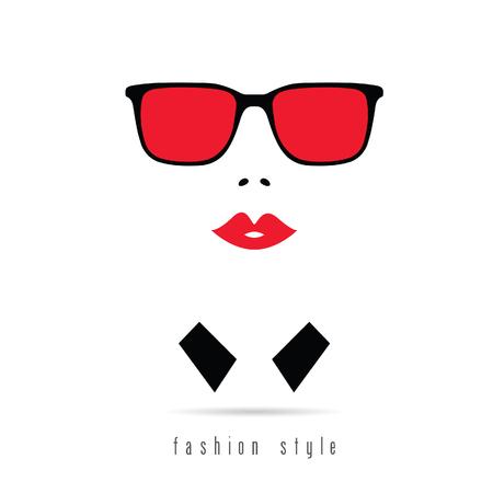 Figura del icono del ejemplo de la moda chica en colorido