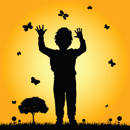 nature silhouette: boy in nature silhouette illustration in colorful
