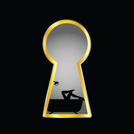benen illustratie meisje in bad achter sleutelgat silhouet Vector Illustratie
