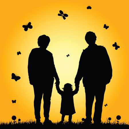 grandparent: child with grandparent illustration silhouette in nature Illustration