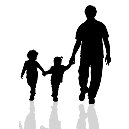 family with two children: family walking silhouette two children on white background