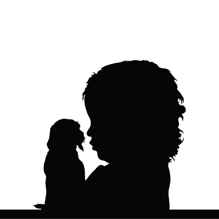 cute baby girls: child with dog silhouette illustration on white Illustration