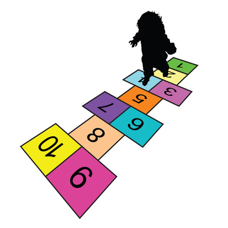 hopscotch: child play hopscotch game illustration silhouette in colorful