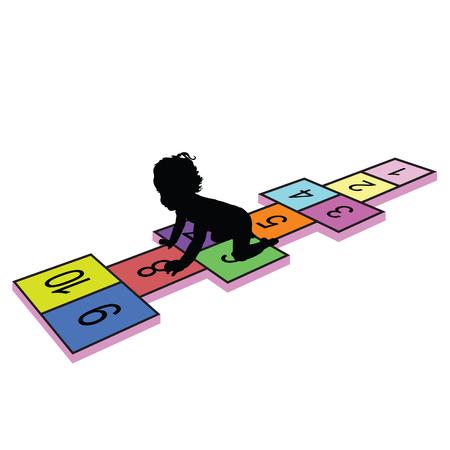 hopscotch: child on hopscotch illustration silhouette in colorful Illustration