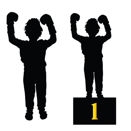 boxing boy: boy boxing silhouette illustration in black Illustration