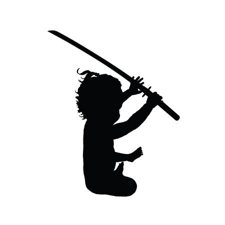 samurai sword: child with samurai sword illustration silhouette Illustration
