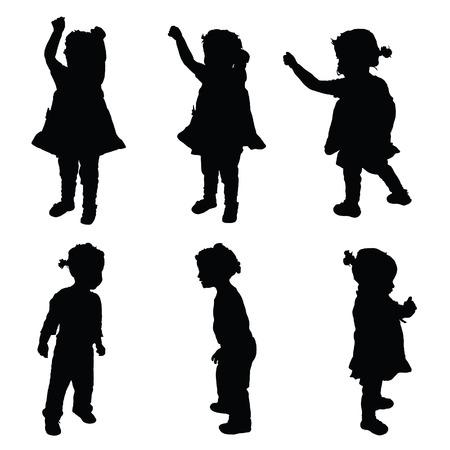 child standing: child happy illustration silhouette in black