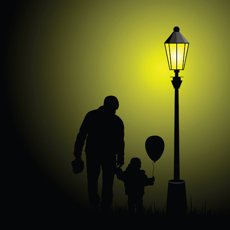 father and child: child  silhouette illustration with balloon and father in nature Illustration