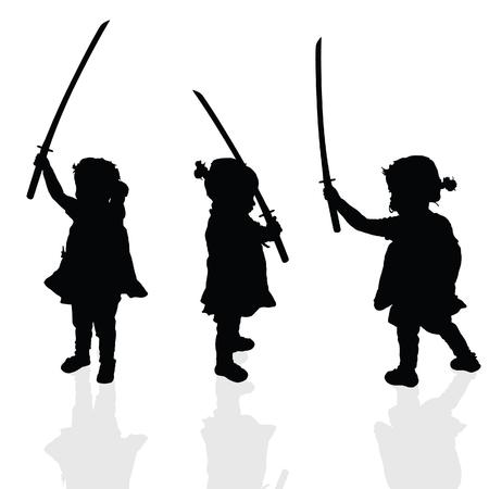 child standing: child silhouette black illustration with samurai sword