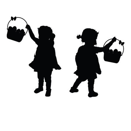 Kindsilhouet zwarte illustratie met ei in de mand Stockfoto - 55507893