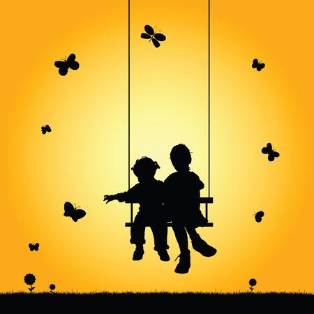 bambini in altalena silhouette illustrazione nel colorato