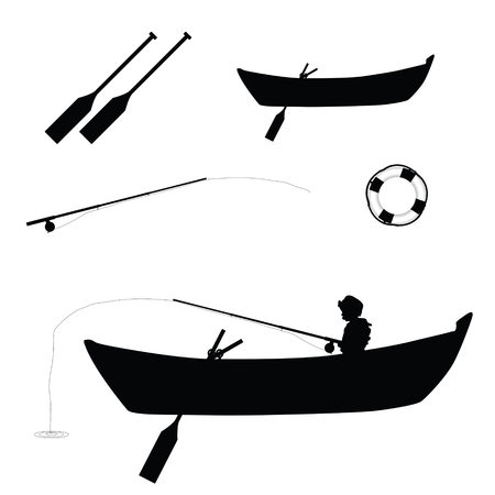 child hair: child fishing in boat illustration silhouette Illustration