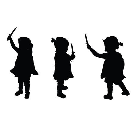 Bambino con le spade impostare silhouette illustrazione