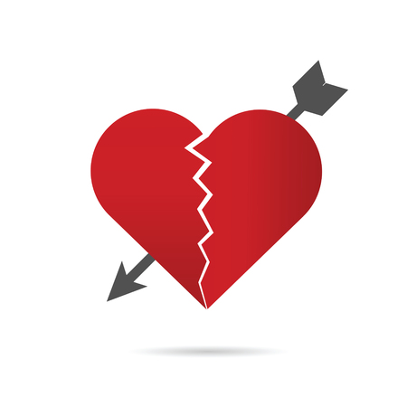break in: heart break illustration with arrow in red