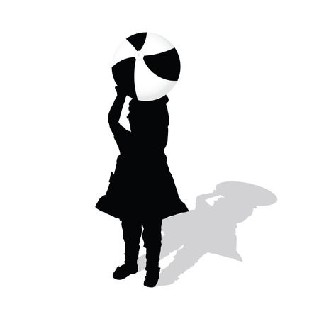 beach ball girl: child with beach ball illustration silhouette Illustration
