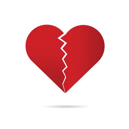 break in: heart break illustration in red